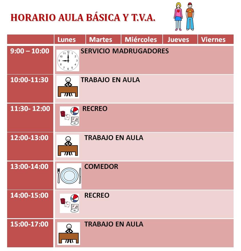 horario aula básica y tva